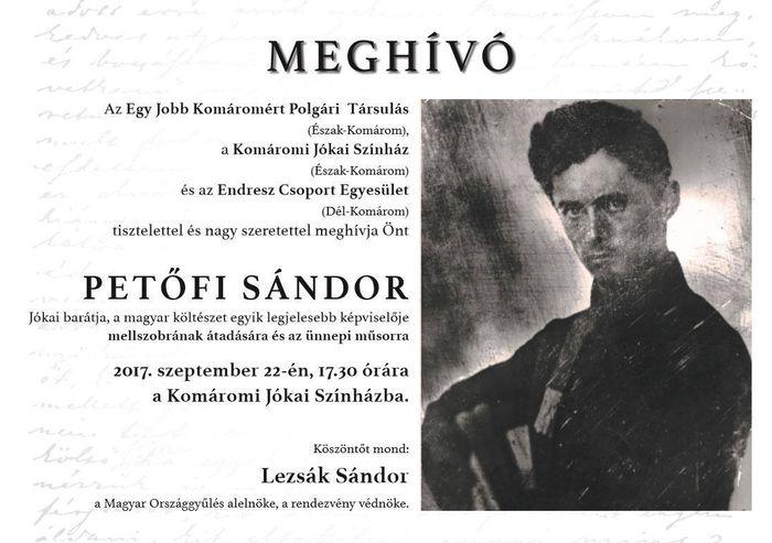 Petőfi Sándor mellszobrának átadása és ünnepi műsor Komáromban