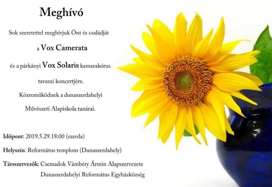 A Vox Camerata és a Vox Solaris tavaszi koncertje Dunaszerdahelyen